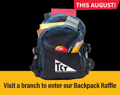Visit a branch to enter our Backpack Raffle now through August 31
