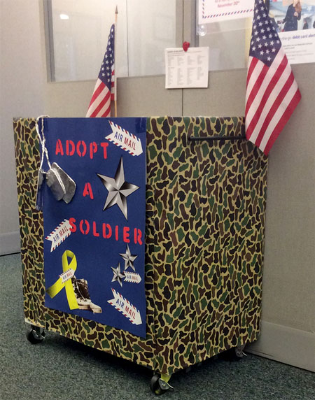 Operation Adopt-A-Soldier donation bin